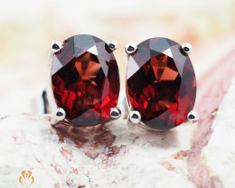 10 KW White Gold Garnet Earrings - 52 - E E9659 1350