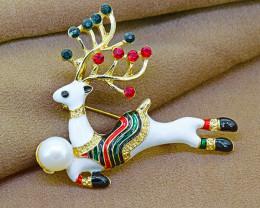 Festive Pearl, Enamel & Crystal  Christmas Reindeer Brooch