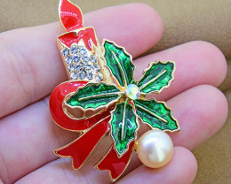 Festive Christmas Brooch with  Pearl, Enamel & Crystal