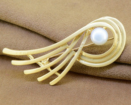 Elegant pearl & matt-finish enamel abstract brooch