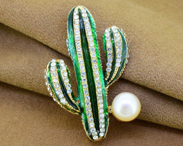 Striking Pearl, Enamel & Crystal Cactus Brooch