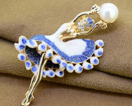 Pretty ballerina brooch with pearl,  glittered enamel & crystal