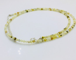 14.45 Crt Natural Citrine And Moonstone  Beads Neckalce with Silver Lock
