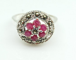 RUBY NATURAL STONE  925 SILVER RING S#11