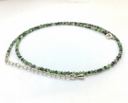 16.70 Crt Natural Ruby Zoisite Beads Neckalce with Silver Lock