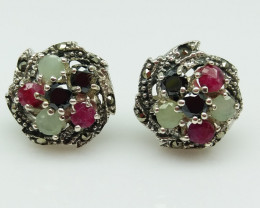 RUBY EMERALD SAPPHIRE MIXED 925 SILVER EARRING S#19