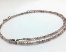 17.75 Crt Natural Strawberry Quartz  Beads Neckalce with Silver Lock