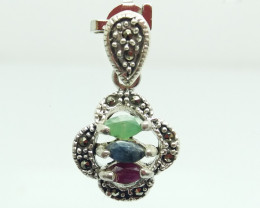 RUBY EMERALD SAPPHIRE MIXED 925 SILVER PENDANT S#33