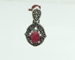 RUBY NATURAL STONE 925 SILVER PENDANT S#36