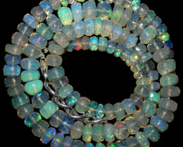 77 Crts Natural Ethiopian Welo Faceted Opal Beads Necklace 75