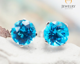 10 KW White Gold Blue Topaz Earrings - 55 - E E4046 1250