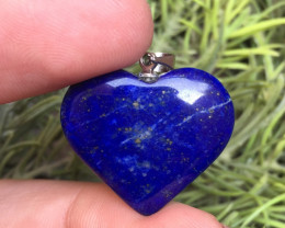 32.70ct OF Natural heart shape lapis lazuli Pendent