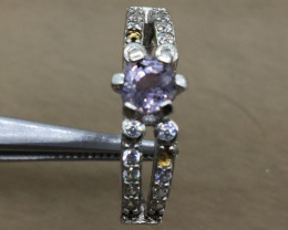 Natural 0.83 cts Purple sapphire 925 Sterling white rhodium silver ringp