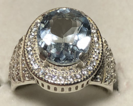 Natural Beautiful Aquamarine With CZ 925 Silver Ring