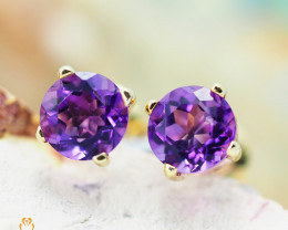 10 KY Yellow Gold Amethyst Earrings - 59 - E E4046 800