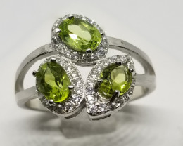 3 In 1 Natural Green Peridot Silver Ring With Cubic Zirconia
