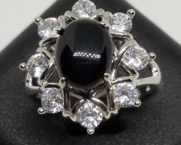 Natural Black Onyx Stainless Steel Ring With Cubic Zirconia