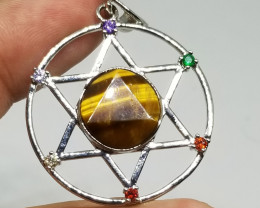 Natural Tiger Eye Stainless Steel Pendant With 6 Different Colors Of Cubic