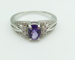 AMETHYST NATURAL STONE WITH 925 SILVER RING A#7