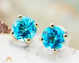 10 KY Yellow Gold Blue Topaz Earrings - 60 - E E4046 850