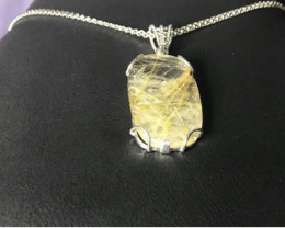 Rutile Needles Quartz Pendant With Chain
