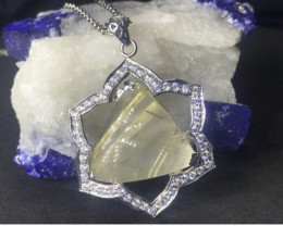 Golden Rutile Needles Quartz Pendant With Chain