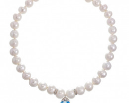 9k White Gold A Freshwater pearl Necklace with Blue Topaz Gemstones & Diamo