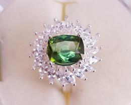 Natural  Green Tourmaline Ring.
