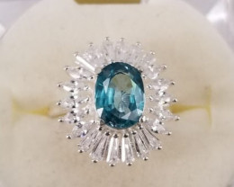 Blue Zircon Ring With 925 Silver