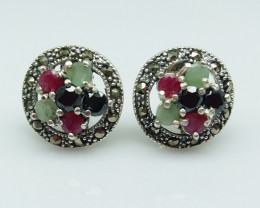 RUBY EMERALD SAPPHIRE MIXED 925 SILVER EARRING B#16