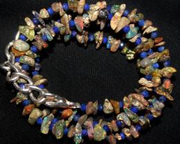 35 Crt Natural Ethiopian Welo Smoked Uncut Opal & Lapis Lazuli Beads 3