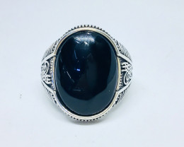 43.72 Crt Natural Black Onyx 925 Silver Ring
