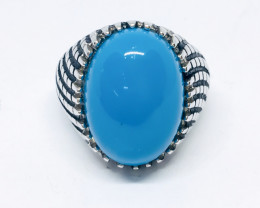 43.73 Crt Howlite Turquoise 925 Silver Ring