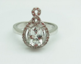 WHITE TOPAZ NATURAL STONE WITH  925 SILVER RING C#4