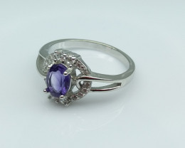AMETHYST NATURAL STONE WITH  925 SILVER RING C#9
