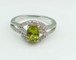 PERIDOT NATURAL STONE WITH  925 SILVER RING C#10
