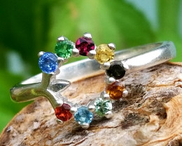 Fancy Multi Color Natural Tourmaline Silver Ring
