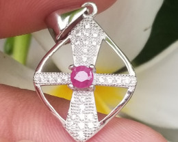 Natural Burama Heated Pink Ruby Silver Pendant With Cubic Zirconia