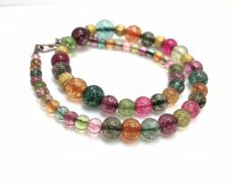 228 Crt Water Melon Quartz Beads Necklace