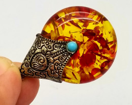 Amber Imitation Pendant With Brass Bale