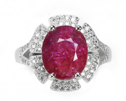 4.93 Ct Ruby Unheated Mozambiq Quality Silver 925 Ring. (DZR 02)