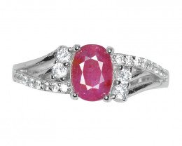 1.48 Ct Ruby Unheated Mozambiq Quality Silver 925 Ring. (DZR 04)