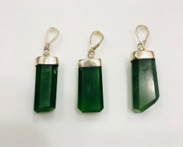 60CT Of Natural Nephrite Pendents With Silver