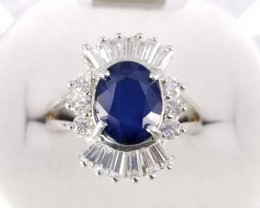 33.65 Cts Sapphire Ring with CZ