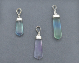 3 Pcs OF Natural Fluorite Pendents With Silver ~G AQ