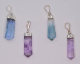 4 Pcs OF Natural Fluorite Pendents With Silver ~ G AQ
