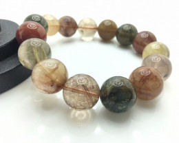 15mm Natural Multi Rutilated Quartz Bracelet