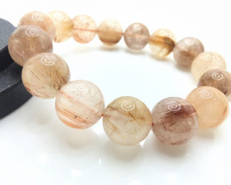 15mm Natural Golden Rutilated Quartz Bracelet