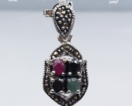 RUBY EMERALD SAPPHIRE MIXED 925 SILVER PENDANT  D#1