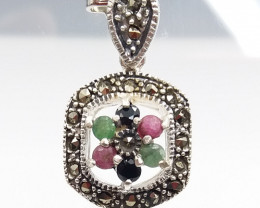 RUBY EMERALD SAPPHIRE MIXED 925 SILVER PENDANT D#3